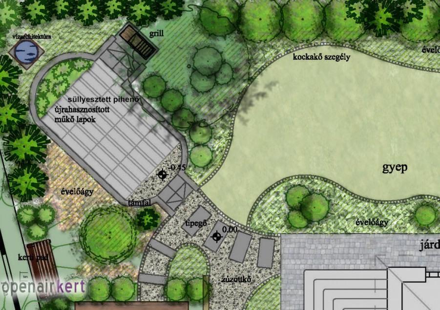 Kertépítészeti terv részlete, 8. kerület, Tisztviselőtelep, süllyesztett kerti pihenő