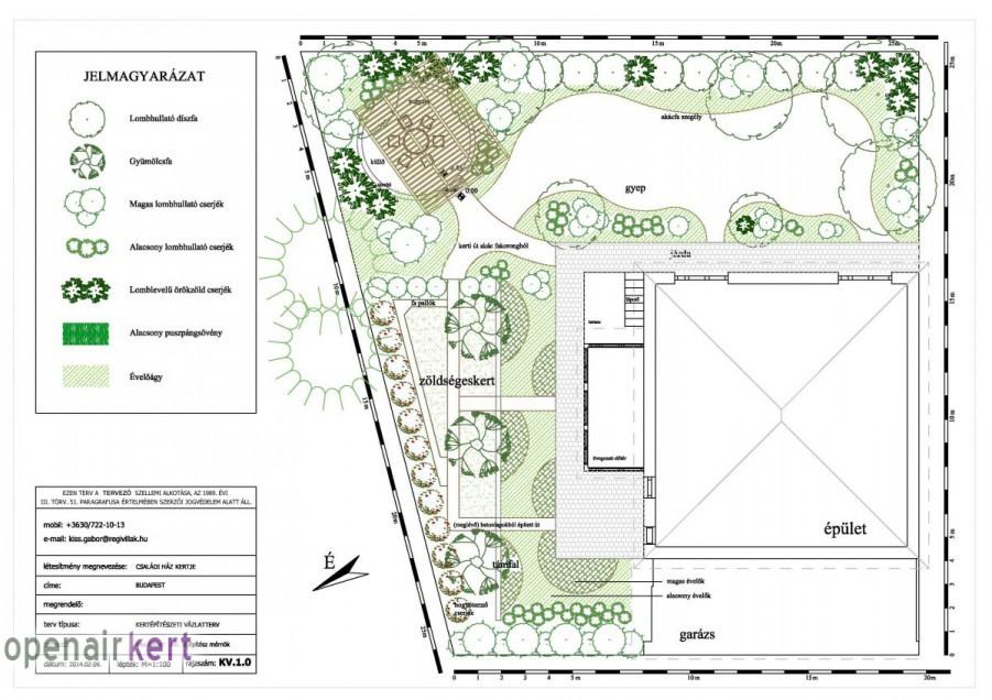 Kertépítészeti ötletterv 1.1. változat, 8. kerület, Tisztviselőtelep